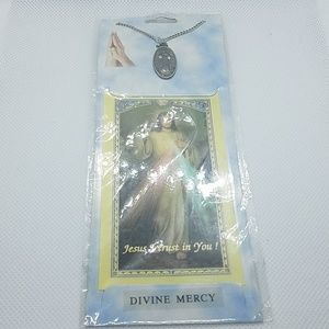 NWT Divine Mercy Necklace & Bookmark